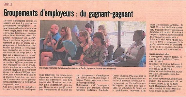 LA PRESSE PARLE DES GROUPEMENTS D'EMPLOYEURS DE L'AUBE...